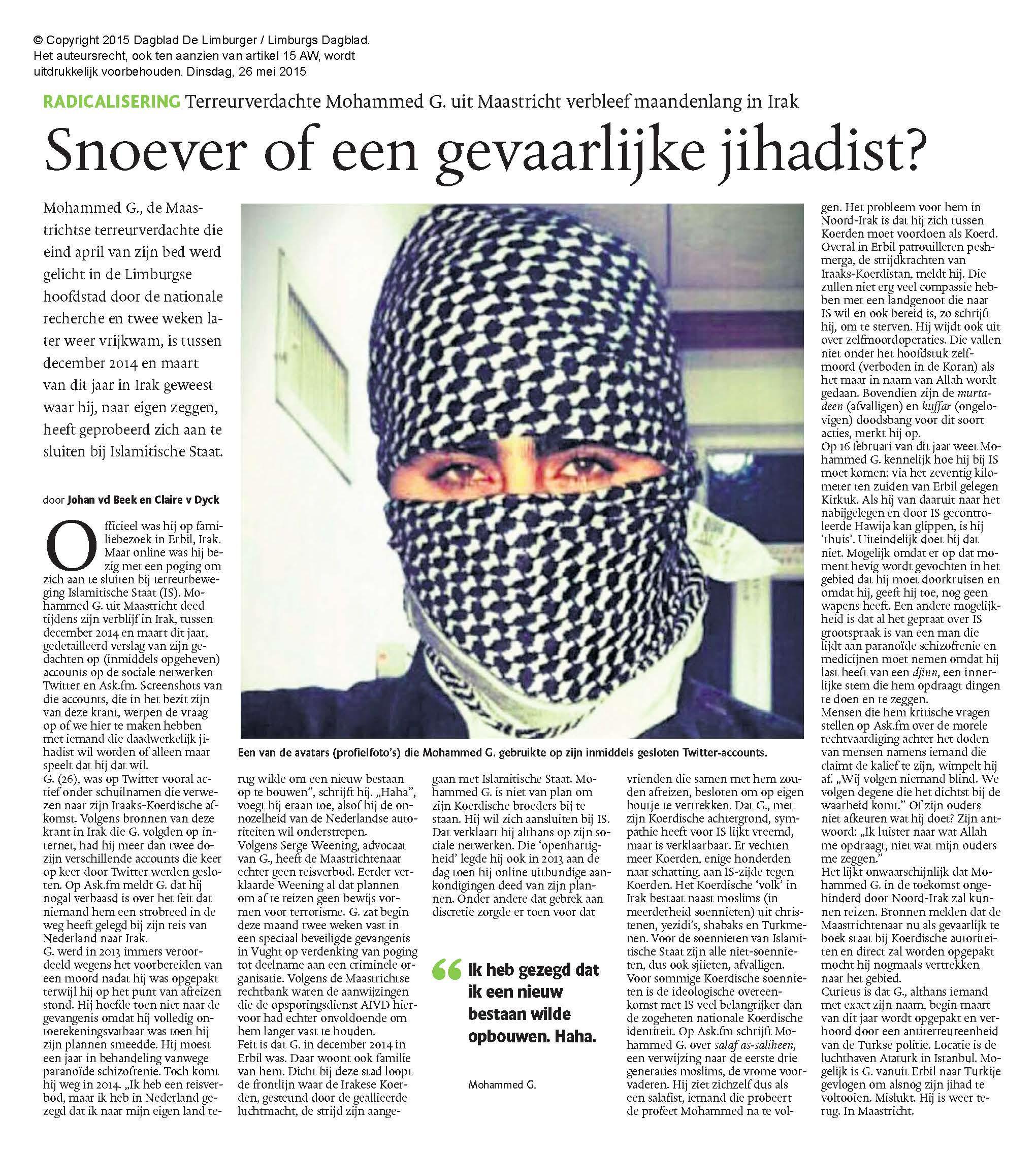 Artikel Limburgs dagblad Mohammed G