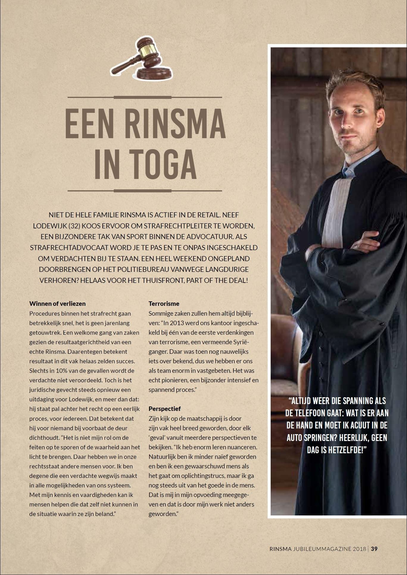 Een Rinsma in toga Rinsma fashion najaarsmagazine 2018