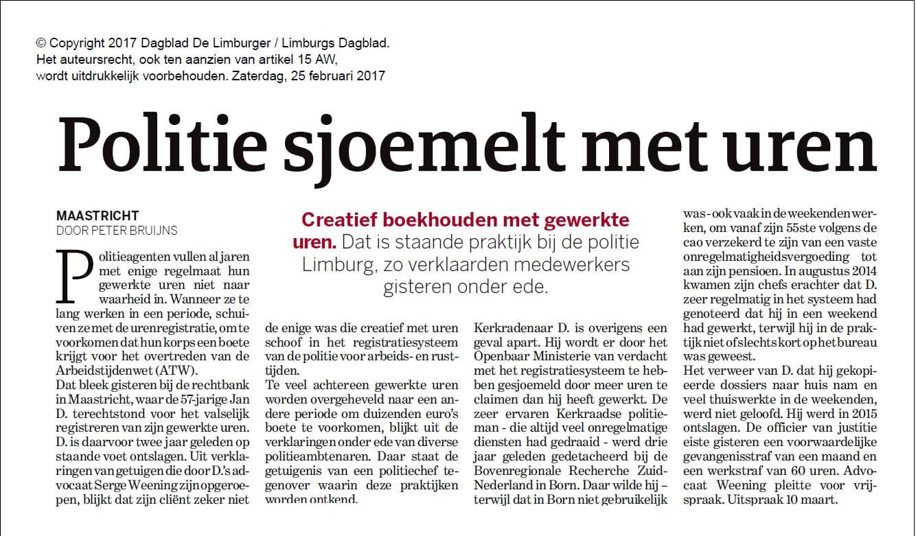 Politie sjoemelt met uren Dagblad de Limburger